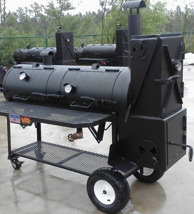 Lang BBQ Smoker Cooker with made in the U.S.A. sign