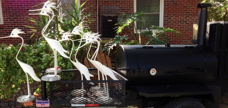 Christmas Egrets Pulling a Lang BBQ Smoker cooker