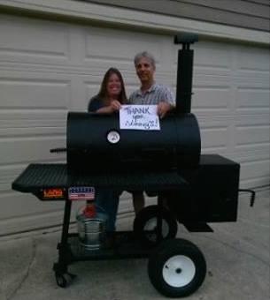 Sonny's BBQ Trivial Winners win a Lang smoker cooker